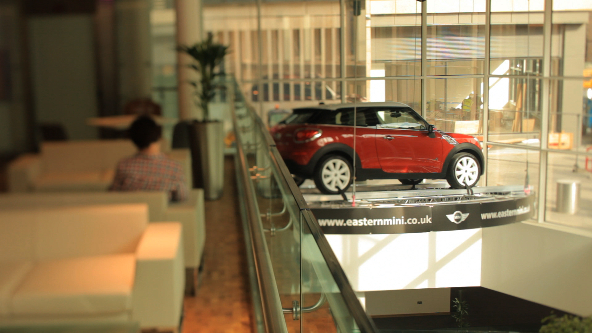 Mini Cooper displayed in the Atrium